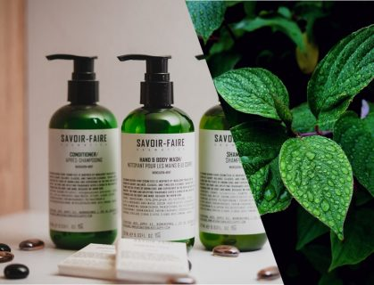 pump bottles Savoir Faire green leaves